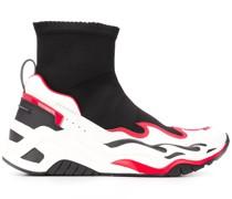 Sock-Sneakers mit Flammen