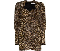 leopard print puff sleeve dress