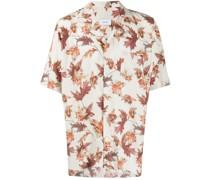 Bowlinghemd mit Blatt-Print