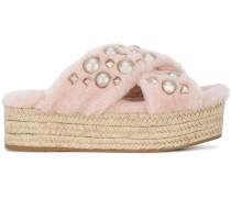 Pink Shearling Pearl flatform Sandals
