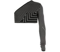 Gestreifter One-Shoulder-Pullover