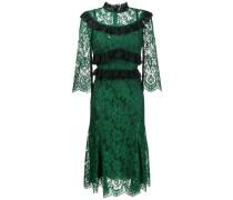 ruffle-trimmed lace midi-dress
