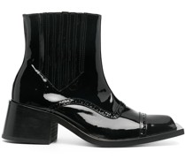 patent leather square-toe ankle boots