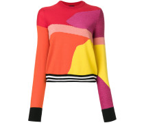 colour-block textured knit sweater