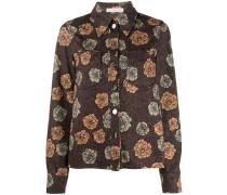point-collar floral print shirt