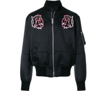 tiger applique bomber jacket