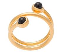 Vergoldeter Spiralring mit Onyx