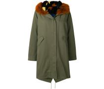 trimmed hood parka coat