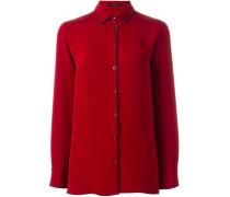 Seidenhemd mit kontrastfarbenen Kanten