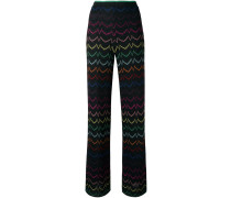 lurex zig-zag straight trousers