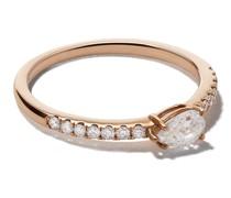 18kt 'Sideways' Rotgoldring mit Diamanten