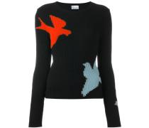 Intarsien-Pullover mit Vogelmotiven