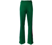 Web trim flared trousers