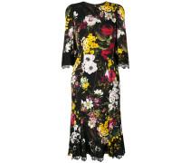 Florales Kleid mit Spitzeneinsatz