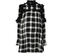 Kariertes Kleid mit gerüschten Details