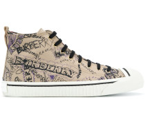 Doodle Print Cotton Gabardine High-top Sneakers