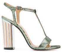 Metallische Sandalen mit Tförmigem Riemchen