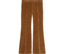 Wide-Leg-Hose in Samtoptik