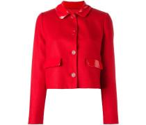 Cropped-Jacke mit glänzendem Kragen