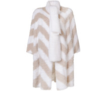 chevron pattern fur coat with scarf detail