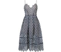embroidered flared midi dress