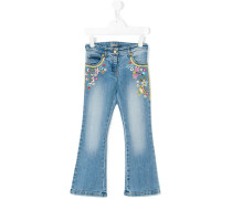 embroidered flower jeans - kids
