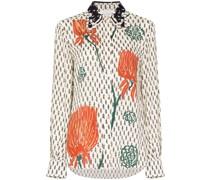 floral-print crepe de chine shirt
