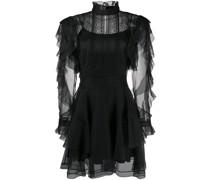 ruffled sheer-panel mini dress