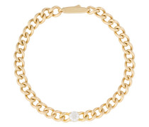 18kt gold and diamond link chain bracelet