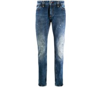 Schmale Jeans mit Totenkopf