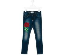 Skinny-Jeans mit Rosen-Stickerei