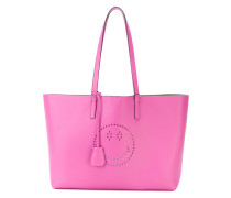 perforated smiley shopper tote