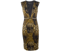 Bedrucktes Kleid mit tiefem Ausschnitt - women