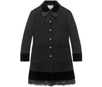 Mantel aus Wolle mit Spitzen-Detail