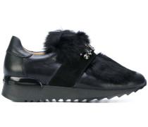 jewelled fur sneakers