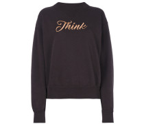 "Sweatshirt mit ""Think""-Stickerei"