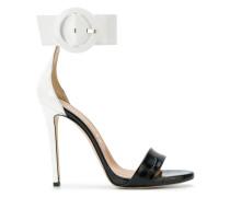 oversized buckle stiletto sandals