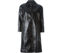 single breasted pleather coat