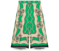 Garden Chains print silk Bermuda shorts