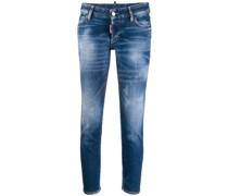 'Icon' Slim-Fit-Jeans mit Farbklecks-Print