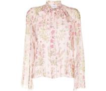 Florale Bluse mit Falten