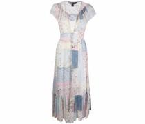 Silk Floral Patchwork Midi Dress