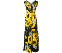 Langes Abendkleid mit Sonnenblumen-Print