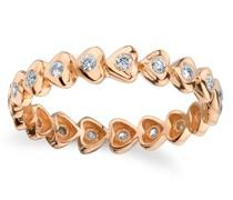 18kt Rotgold-Memoire-Ring mit Herzen