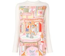 Pullover mit bedrucktem Seideneinsatz
