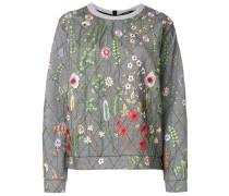 Gestepptes Sweatshirt mit Blumenstickerei