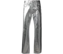 Metallic-Jeans mit Knitteroptik