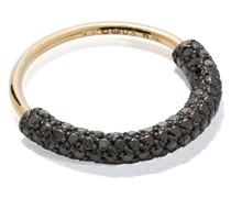 18kt yellow  half diamond pavé ring