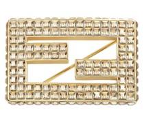 Logo-Brosche mit Kristallen