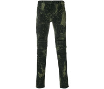 printed biker trousers
